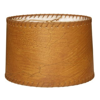 Link to Royal Designs Shallow Drum Lamp Shade, Dark Brown Faux Leather with Lace, 13 x 14 x 9 Similar Items in Lamp Shades