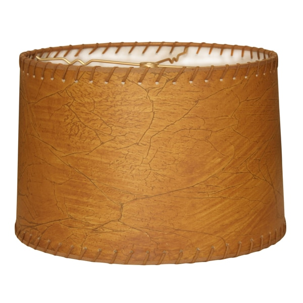Royal Designs Shallow Drum Lamp Shade, Dark Brown Faux Leather with Lace, 11 x 12 x 8.5
