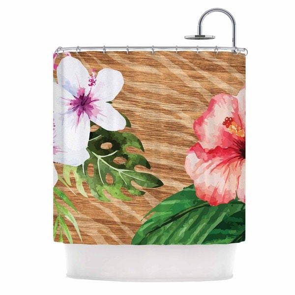 KESS InHouse NL designs Vintage Tropical Jungle  Pink Floral Shower Curtain (69x70)