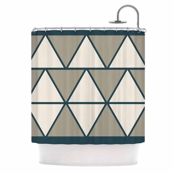 KESS InHouse NL designs Sandstone Triangles Beige Geometric Shower Curtain (69x70)
