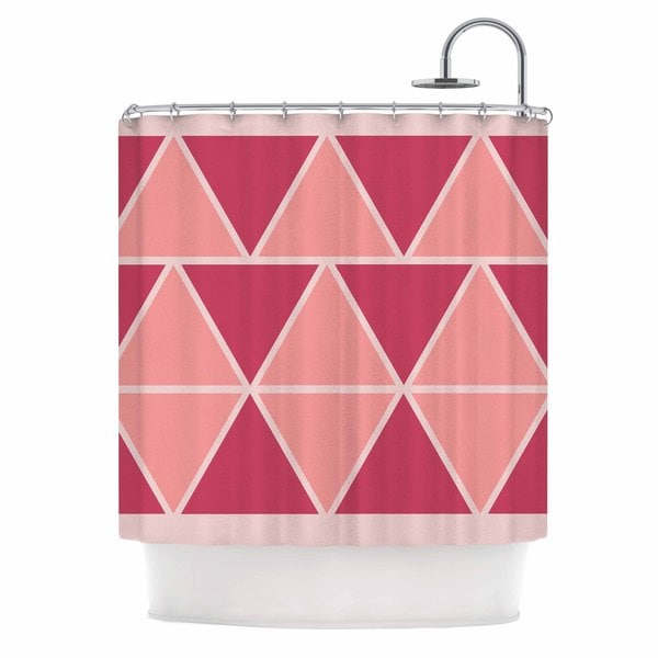 KESS InHouse NL designs Coral Peach Triangles Pink Patterns Shower Curtain (69x70)