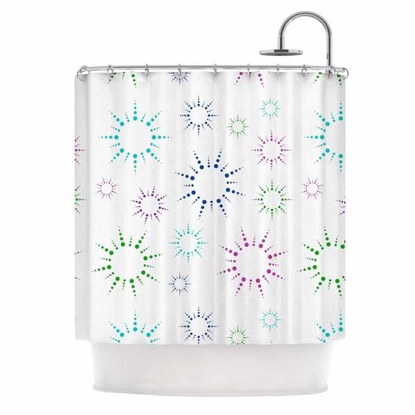 KESS InHouse NL Designs Rainbow Fireworks  Multicolor Pattern Shower Curtain (69x70)