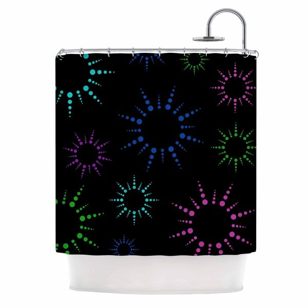 KESS InHouse NL Designs Rainbow Fireworks Black Multicolor Geometric Shower Curtain (69x70)