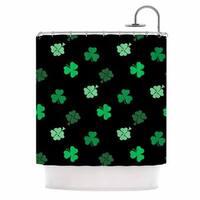 "KESS InHouse NL Designs ""Shamrocks"" Green Holiday Shower Curtain (69x70) - 69 x 70"