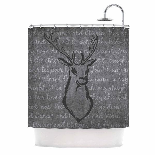 KESS InHouse NL Designs Reindeer  Gray White Shower Curtain (69x70)