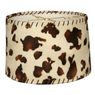 Royal Designs Shallow Drum Lamp Shade, Cowhide with Lace, 13 x 14 x 9