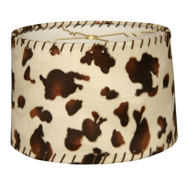 Royal Designs Shallow Drum Lamp Shade, Cowhide with Lace, 11 x 12 x 8.5
