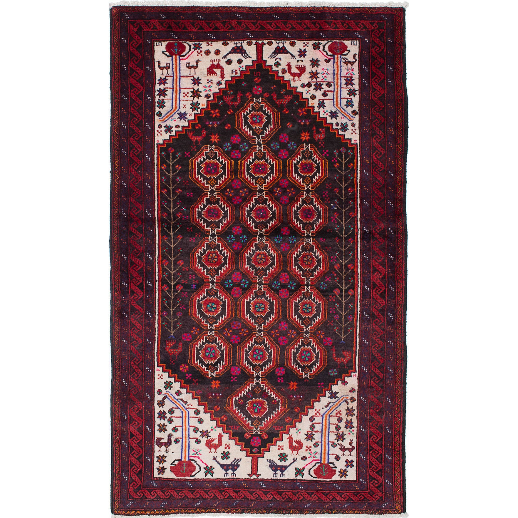 Ecarpetgallery Baluch Red/Brown/Black Wool Hand-knotted A...