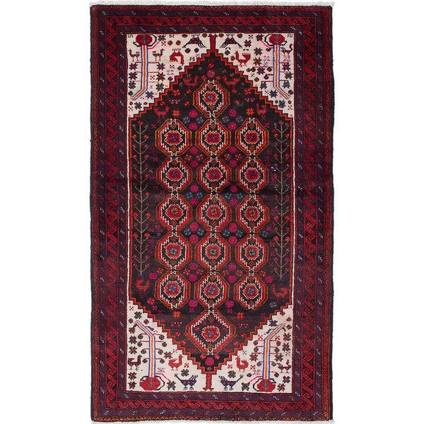 Shop Ecarpetgallery Baluch Red Brown Black Wool Hand Knotted Area