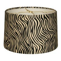 Royal Designs Shallow Drum Lamp Shade, Zebra, 15 x 16 x 10
