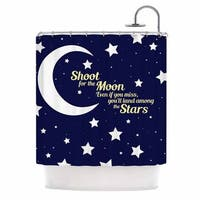 KESS InHouse NL Designs Moon And Stars Quote Blue White Shower Curtain (69x70)