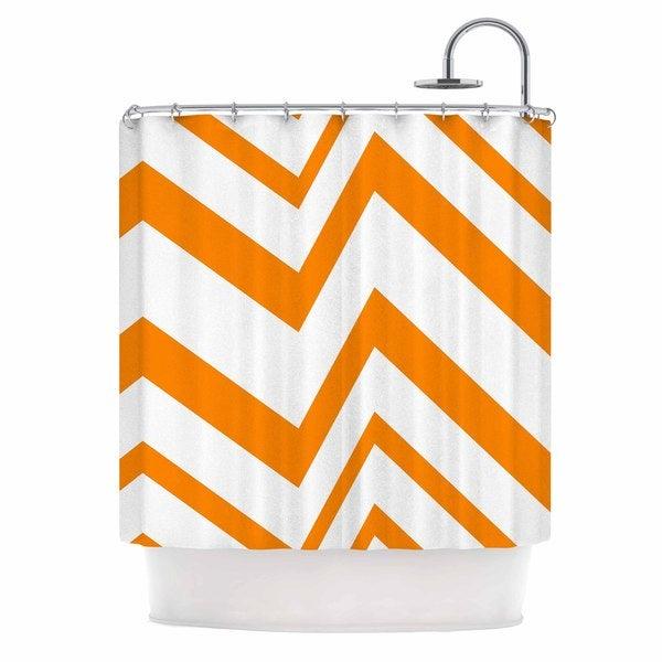 KESS InHouse NL Designs ZigZag Orange Tangerine White Shower Curtain (69x70)