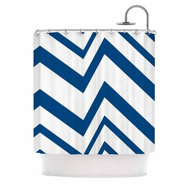 KESS InHouse NL Designs ZigZag Navy Blue White Shower Curtain (69x70)