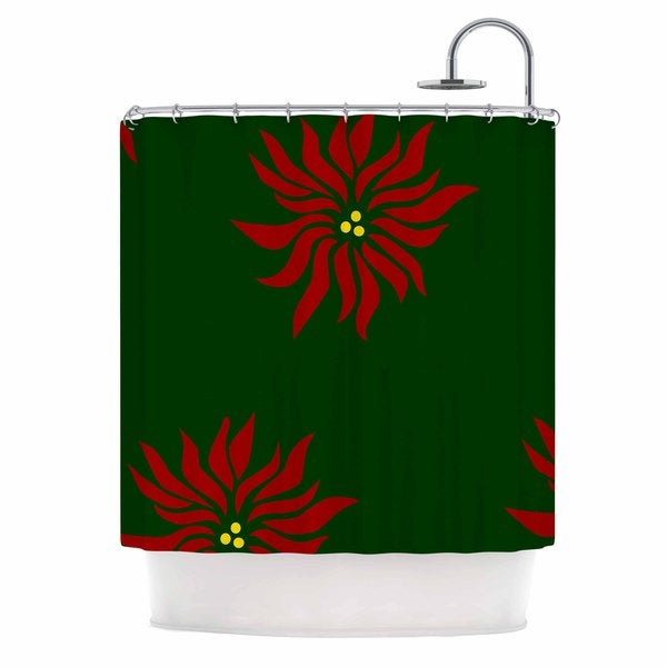 KESS InHouse NL Designs Poinsettias Green Red Shower Curtain (69x70)