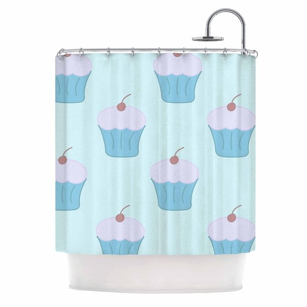 KESS InHouse NL Designs Blue Cupcakes Pastel Food Shower Curtain (69x70)