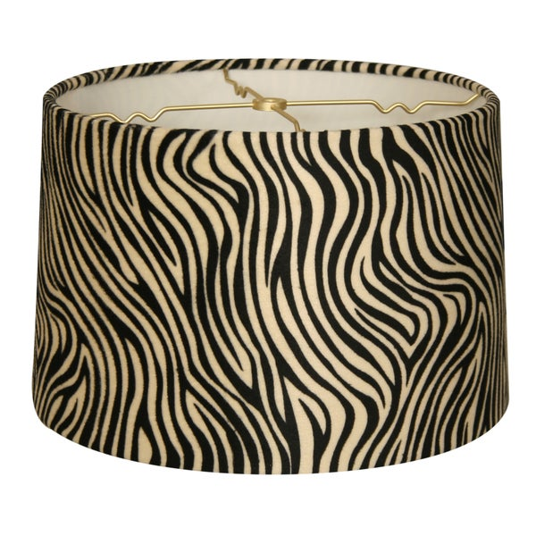 Royal Designs Shallow Drum Lamp Shade, Zebra, 13 x 14 x 9
