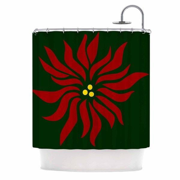 KESS InHouse NL Designs Poinsettia Green Maroon Shower Curtain (69x70)