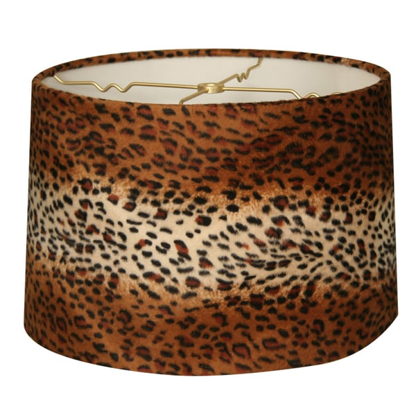 Royal Designs Shallow Drum Lamp Shade, Leopard, 13 x 14 x 9