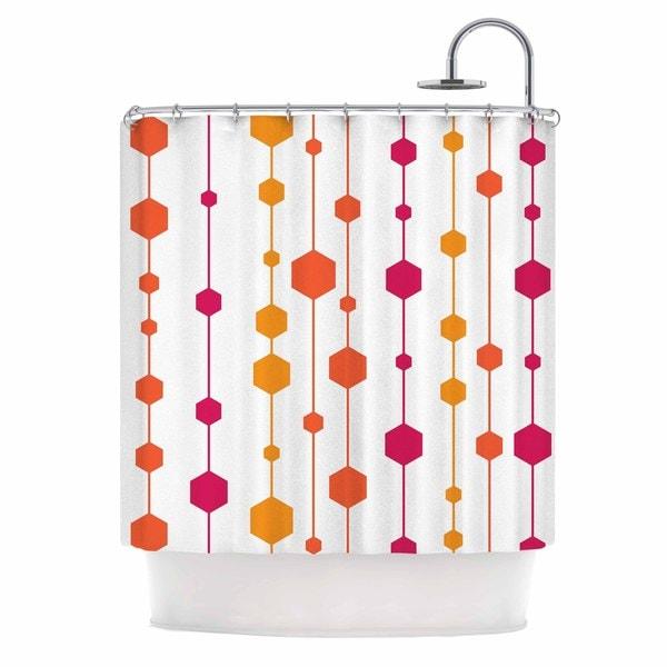 KESS InHouse NL Designs Warm Dots White Pattern Shower Curtain (69x70)