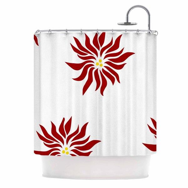 KESS InHouse NL Designs White Poinsettias Maroon Floral Shower Curtain 69x70