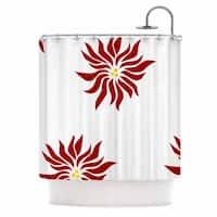 KESS InHouse NL Designs White Poinsettias Maroon Floral Shower Curtain (69x70)