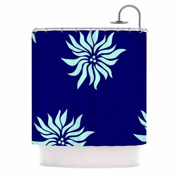 KESS InHouse NL Designs Snow Flowers Blue Aqua Shower Curtain (69x70)
