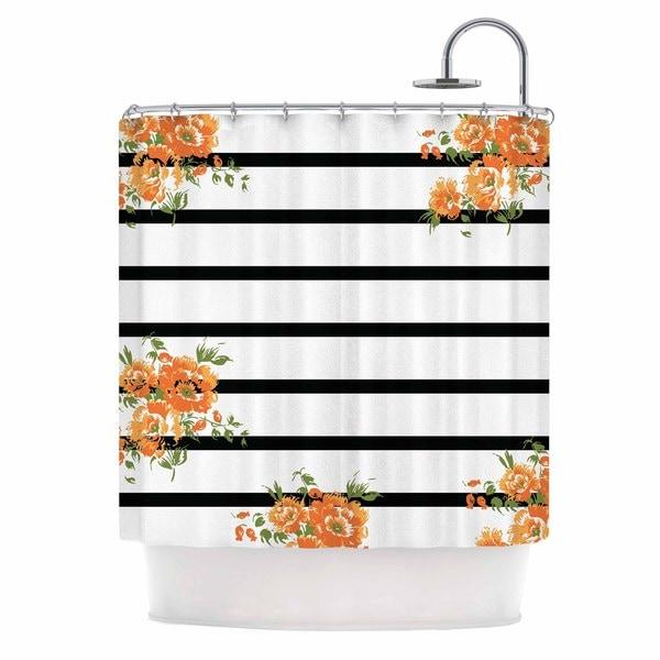 KESS InHouse NL Designs Orange Floral Stripes Black Floral Shower Curtain (69x70)