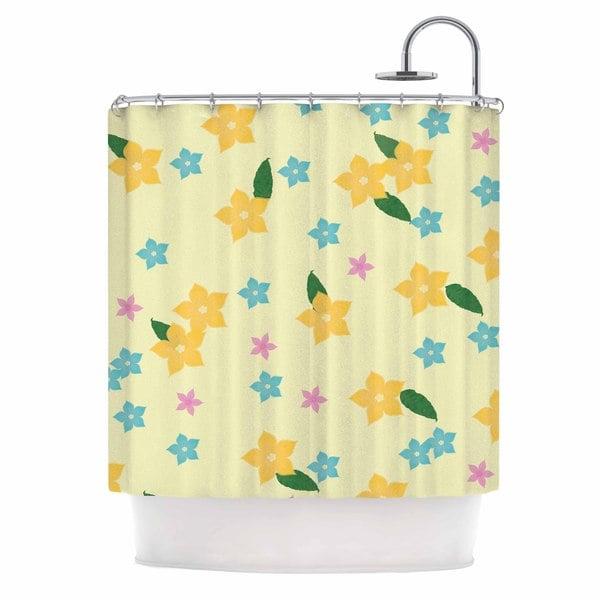 KESS InHouse NL Designs Tropical Flowers Yellow Pattern Shower Curtain (69x70)