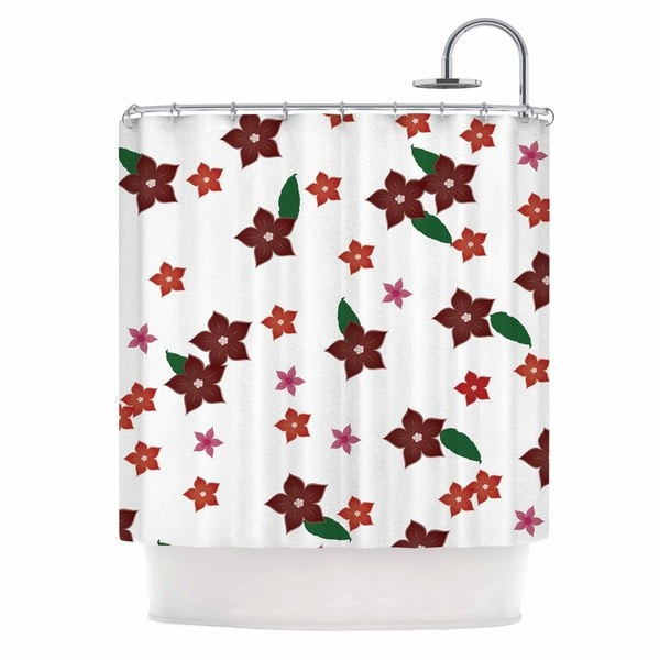 "KESS InHouse NL Designs ""Holiday Floral"" White Pattern Shower Curtain (69x70) - 69 x 70"