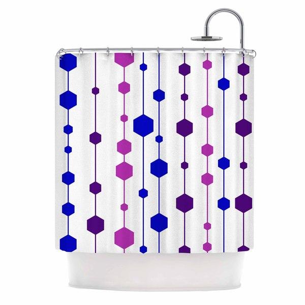 KESS InHouse NL Designs Cool Dots Line Pattern Shower Curtain (69x70)