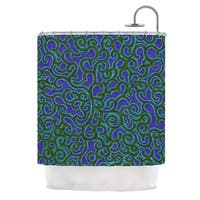 KESS InHouse NL Designs Swirling Vines Blue Green Shower Curtain (69x70)