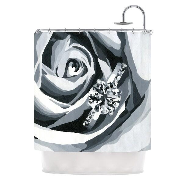KESS InHouse NL Designs Happy Engagement Gray White Shower Curtain (69x70)