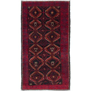 ecarpetgallery Hand-Knotted Finest Baluch Black, Red  Wool Rug (2'9 x 5'3)