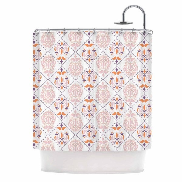 KESS InHouse Neelam Kuar Modern Reminisence White Pink Shower Curtain (69x70)