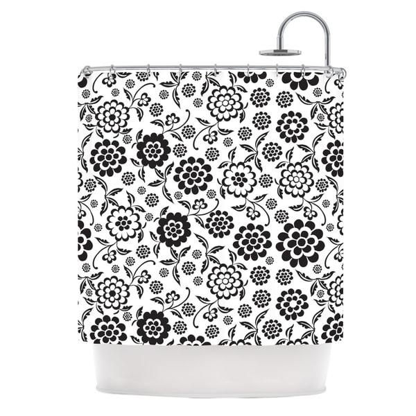 KESS InHouse Nicole Ketchum Cherry Floral White Shower Curtain (69x70)