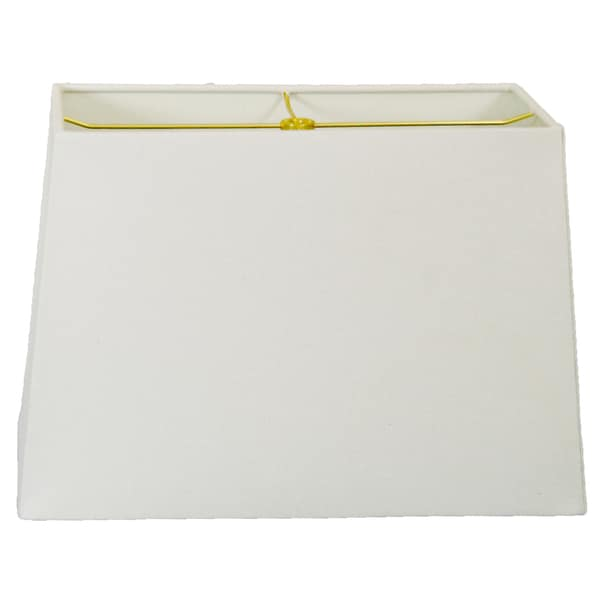 Royal Designs Rectangle Hard Back Lamp Shade, Linen White, (8x16) x (10x18) x 12