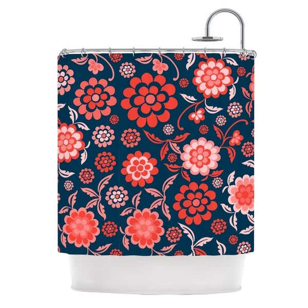 KESS InHouse Nicole Ketchum Cherry Floral Midnight Shower Curtain (69x70)
