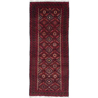 ecarpetgallery Hand-Knotted Finest Baluch Black, Red Wool Rug (2'11 x 7'1)