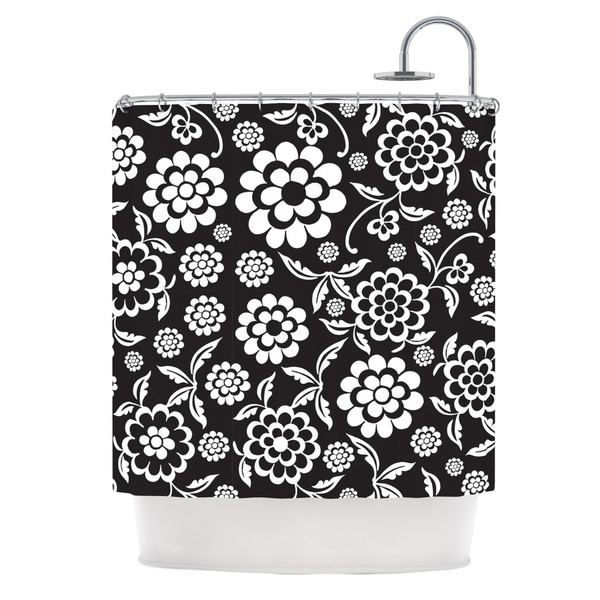 KESS InHouse Nicole Ketchum Cherry Floral Black Shower Curtain (69x70)