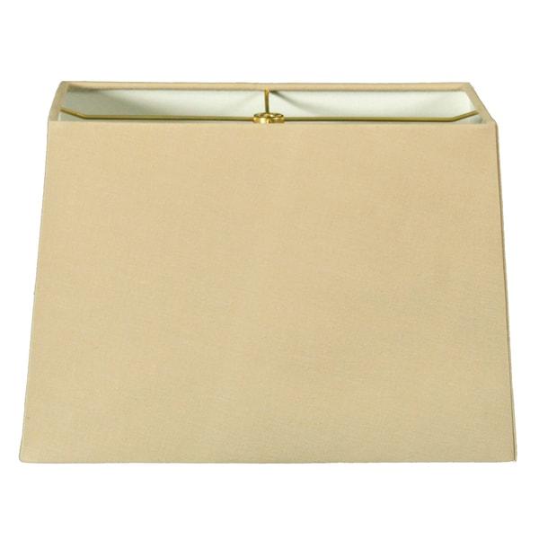 Royal Designs Rectangle Hard Back Lamp Shade, Linen Beige, (8x16) x (10x18) x 12