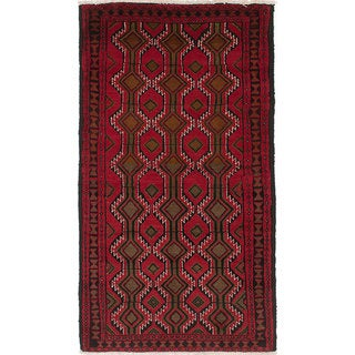 ecarpetgallery Hand-Knotted Finest Baluch Black, Red  Wool Rug (3'1 x 5'8)