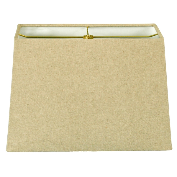 Royal Designs Rectangle Hard Back Lamp Shade, Linen Cream, (7x14) x (9x16) x 11