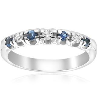 14K White Gold 1/3 ct TDW Diamond & Blue Sapphire Womens Wedding Stackable Ring (I-J,I2-I3)