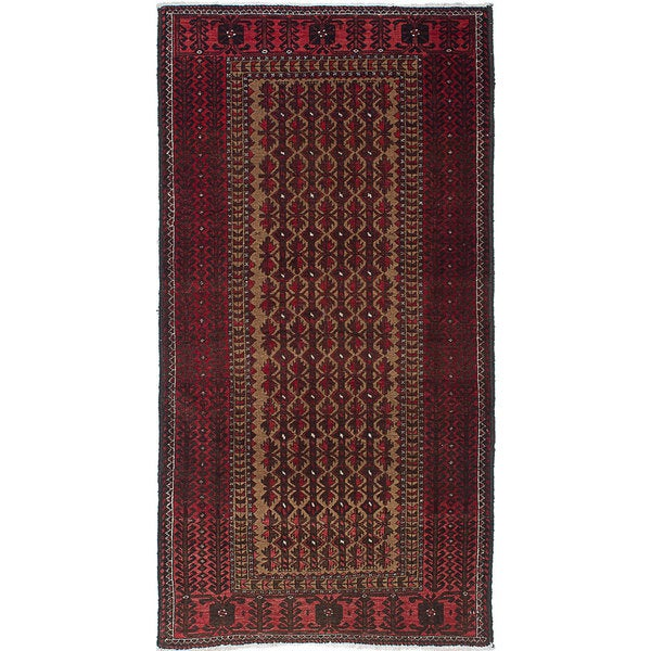 ecarpetgallery Hand-Knotted Finest Baluch Brown, Red Wool Rug (3\'1 x ...