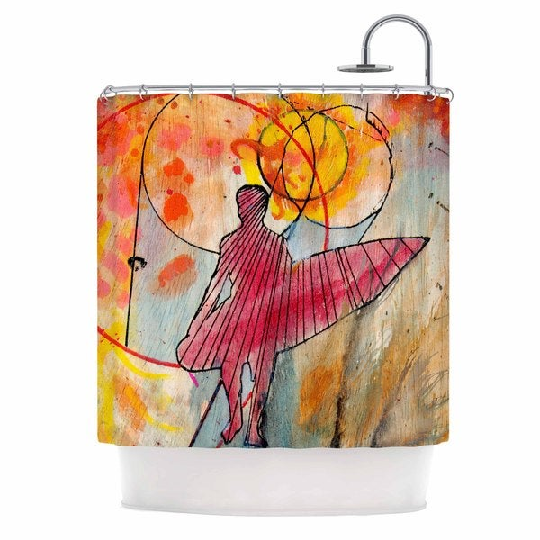 KESS InHouse Nathan Gibbs Art Untold Beauty Red Yellow Shower Curtain (69x70)