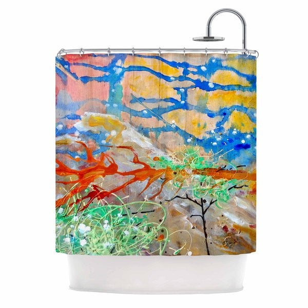 KESS InHouse Nathan Gibbs Art The Earth Shows Its End Blue Orange Shower Curtain (69x70)