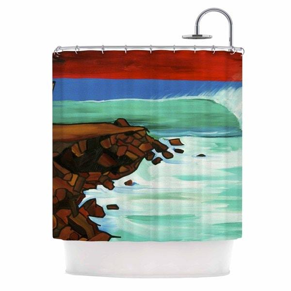 KESS InHouse Nathan Gibbs Art Rights Off Point Red Blue Shower Curtain (69x70)