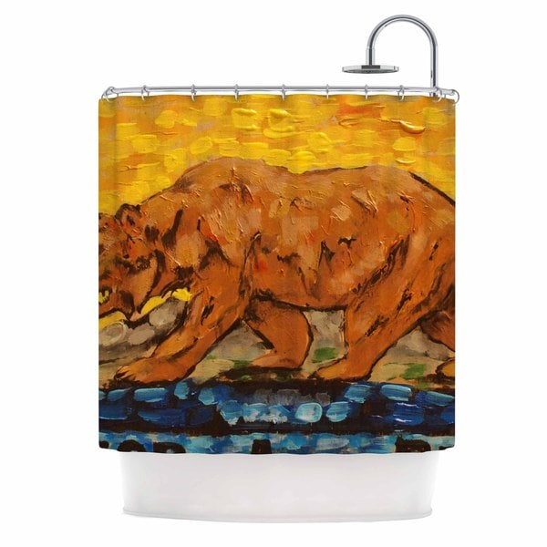 KESS InHouse Nathan Gibbs Art For A Public Bear Blue Red Shower Curtain (69x70)