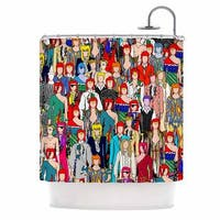 KESS InHouse Notsniw Where's Bowie? Red Black Shower Curtain (69x70)