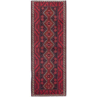 ecarpetgallery Finest Baluch Red Wool Hand-knotted Rug - 3'7 x 9'10